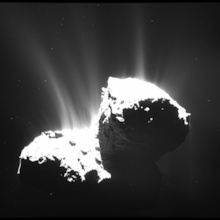 The wide-angle camera of Rosetta's OSIRIS instrument took this image on Nov. 22, 2014, at a distance of 30 kilometers from Comet 67P/Churyumov-Gerasimenko. The image resolution is 2.8 meters per pixel. The nucleus is deliberately overexposed in order to reveal the faint jets of activity. Photo: ESA/Rosetta/MPS for OSIRIS Team (Click image to download hi-res version.)