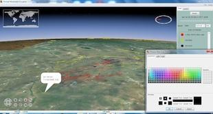 Screnshot from Animal Movement Visualizer (AMV), a bioinformatics tool developed by Kavathekar, D., et al., that tracks the movement of gazelles across Mongolian grasslands.