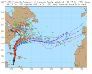 NCEP-GFS ensemble forecasts of Hurricane Sandy by Eugenia Kalnay.