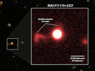 A red-filter image of IRAS F11119+3257 (inset) from the University of Hawaii's 2.2-meter telescope shows faint features that may be tidal debris, a sign of a galaxy merger. Background: A wider view of the region from the Sloan Digital Sky Survey. Photo: NASA GSFC/SDSS/Sylvain Veilleux (Click image to download hi-res version.)