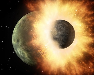 This artist's rendering shows the collision of two planetary bodies. A collision like this is believed to have created the moon within the first 150 million years after our solar system formed. Image: NASA/JPL-Caltech (Click image to download hi-res version.)