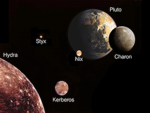 This illustration depicts Pluto and its five moons from a perspective looking away from the sun. It is adapted from a classic Voyager I montage of Jupiter's Galilean moons, and is intended to highlight similarities between the Pluto and Jupiter systems when adjusted for size. Approaching the system, the outermost moon is Hydra, seen in the bottom left corner. The other moons are roughly scaled to the sizes they would appear from this perspective, although they are all enlarged relative to the planet. Image credit: NASA/JPL/M. Showalter, SETI Institute (Click image to download hi-res version.)