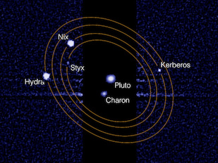 "This composite image from the Hubble Space Telescope shows Pluto and its largest moon, Charon, at the center. Pluto's four smaller moons orbit this ""binary planet"" and can be seen to the right and left. The smaller moons must be imaged with 1000x longer exposure times because they are far dimmer than Pluto and Charon. Image credit: NASA/STScI/M. Showalter, SETI Institute (Click image to download hi-res version.)"