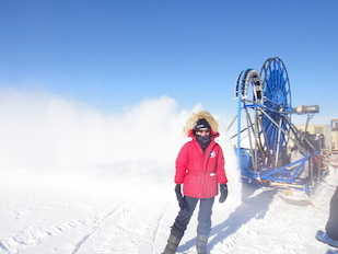 Kara Hoffman helps with the construction of the ARA Neutrino Detector located near the South Pole.