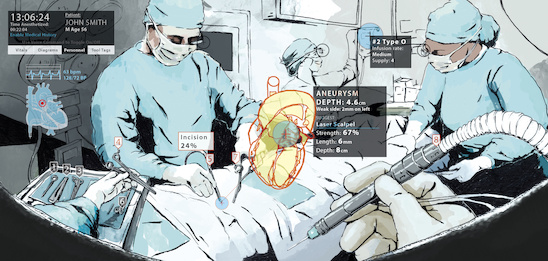 An augmented reality setting could help physicians make real-time decisions in the operating room, as depicted in this artist's rendering. Such settings could provide novel simulation and training environments for future doctors and surgeons. Illustration by Brian Payne.